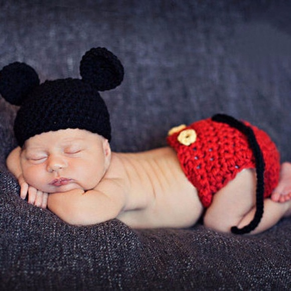 f8e8f5d1b Newborn Baby Knit Mickey Mouse Outfit Photo Prop Boutique